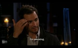 chris sweating